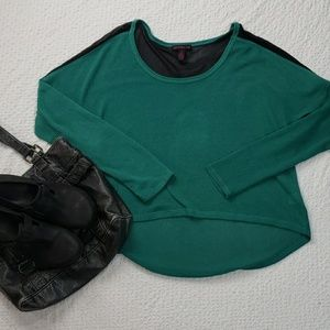 MATERIAL GIRL teal with  black sheer detail  small